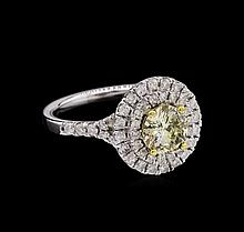 GIA Certified 14KT White Gold 1.00 ctw Yellow Diamond Ring