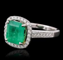 14KT Two-Tone Gold 3.85 ctw Emerald and Diamond Ring