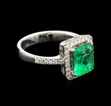 1.78 ctw Emerald and Diamond Ring - 18KT White Gold