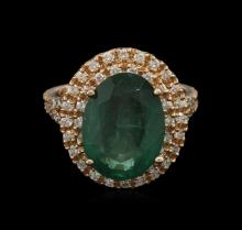 5.55 ctw Emerald and Diamond Ring - 14KT Rose Gold