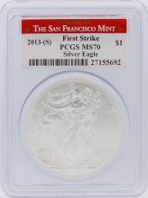 2013-S PCGS Graded MS70 First Strike Silver Eagle Silver Dollar