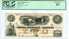 Adrian Michigan The Adrian Insurance Company $2 Note