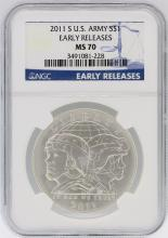 2011-S NGC MS70 Early Release U.S. Army Silver Dollar