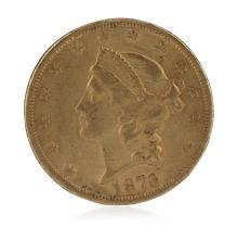 1873 Open 3 AU $20 Double Eagle Liberty Head Gold Coin