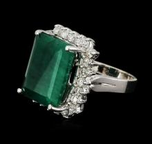 14KT White Gold 10.52 ctw Emerald and Diamond Ring