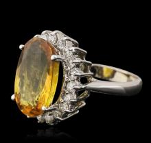 14KT White Gold 6.72 ctw Yellow Sapphire and Diamond Ring