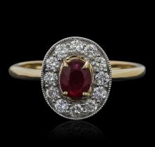 14KT Yellow Gold 0.74 ctw Ruby and Diamond Ring