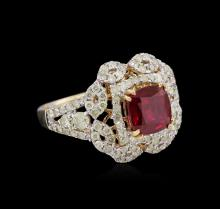 2.45 ctw Ruby and Diamond Ring - 14KT Yellow Gold