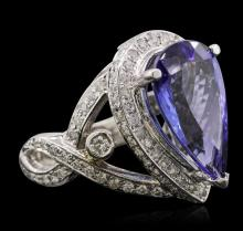 14KT White Gold 7.40 ctw GIA Certified Tanzanite and Diamond Ring