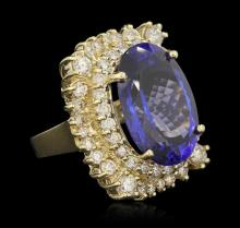 14KT Yellow Gold 22.93 ctw GIA Certified Tanzanite and Diamond Ring