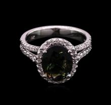 2.66 ctw Green Tourmaline and Diamond Ring - 14KT White Gold