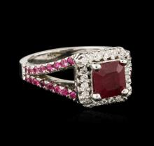 14KT White Gold 2.21 ctw Ruby and Diamond Ring