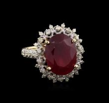 7.88 ctw Ruby and Diamond Ring - 14KT Yellow Gold