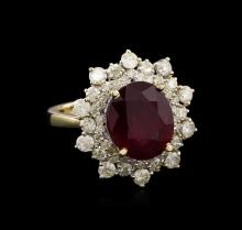 6.67 ctw Ruby and Diamond Ring - 14KT Yellow Gold