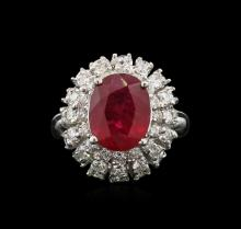 4.88 ctw Ruby and Diamond Ring - 14KT White Gold