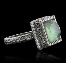 18KT White Gold 3.00 ctw Tourmaline and Diamond Ring