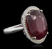 14KT White Gold 15.22 ctw Ruby and Diamond Ring