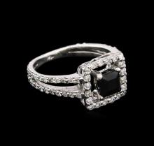 0.50 ctw Black Onyx and Diamond Ring - 14KT White Gold