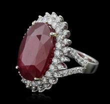 14KT White Gold 21.83 ctw Ruby and Diamond Ring