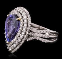 14KT White Gold 5.16 ctw Tanzanite and Diamond Ring
