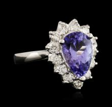 14KT White Gold 2.19 ctw Tanzanite and Diamond Ring