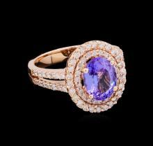 2.42 ctw Tanzanite and Diamond Ring - 14KT Rose Gold