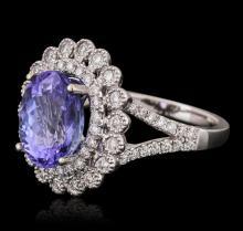 18KT White Gold 3.95 ctw Tanzanite and Diamond Ring