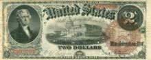 1880 $2 United States Brown Spiked Seal Large Note