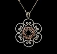 14KT Two-Tone Gold 1.42 ctw Diamond Pendant With Chain