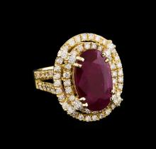 GIA Cert 6.38 ctw Ruby and Diamond Ring - 14KT Yellow Gold