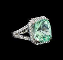GIA Cert 10.20 ctw Emerald and Diamond Ring - 14KT White Gold