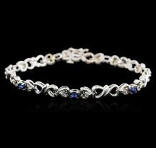14KT White Gold 0.70 ctw Sapphire and Diamond Bracelet