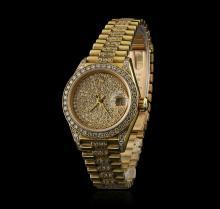 Rolex President 18KT Gold 2.50 ctw Diamond DateJust Ladies Watch