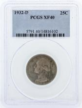 1932-D PCGS Graded XF40 Quarter Silver Coin