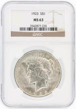 1923 NGC MS63 Peace Silver Dollar
