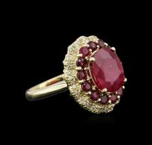 14KT Yellow Gold 5.71 ctw Ruby and Diamond Ring