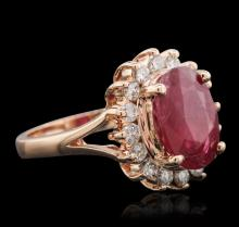 14KT Rose Gold 4.59 ctw Ruby and Diamond Ring