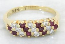 0.20 ctw Ruby and Diamond Ring - 18KT Yellow Gold