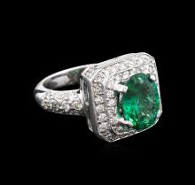 2.39 ctw Emerald and Diamond Ring - 14KT White Gold