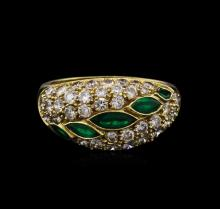 0.52 ctw Emerald and Diamond Ring - 14KT Yellow Gold
