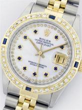 Rolex Two ToneDiamond and Sapphire DateJust Men's Watch