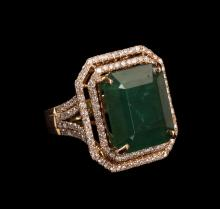 12.59 ctw Emerald and Diamond Ring - 14KT Yellow Gold