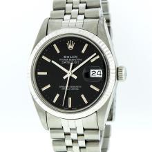Rolex Stainless Steel Black Index DateJust DateJust Men's Watch