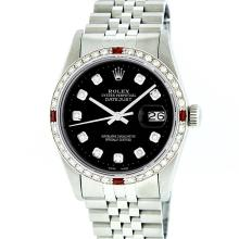 Rolex Stainless Steel Black Diamond and Ruby DateJust Men's Watch