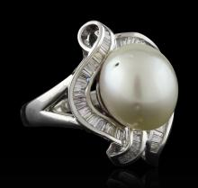 Pearl and Diamond Ring - 18KT White Gold