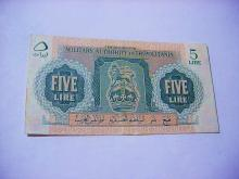 BRITISH MILITARY TRIPOLITANIA 5 SHILLING BANKNOTE