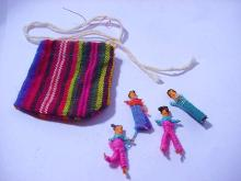 INDIAN TEXTILE BAG WITH DOLLS