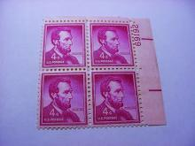 PRESIDENT LINCOLN PLATE BLOCK OF  4