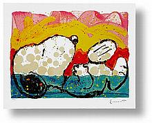 BORA BORA BOOGIE DOWN by TOM EVERHART. VERY RARE, FRAMED LIMITED EDITION LITHOGRAPH ON PAPER