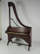 A rare and unusual Regency mahogany French Harpsichord, the exposed upper s